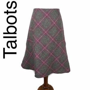 Talbots wool blend plaid skirt in pink and gray